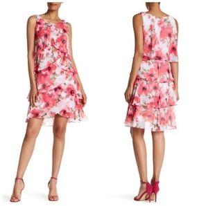 SLNY Pink Floral Print Tulip Sleeveless Dress